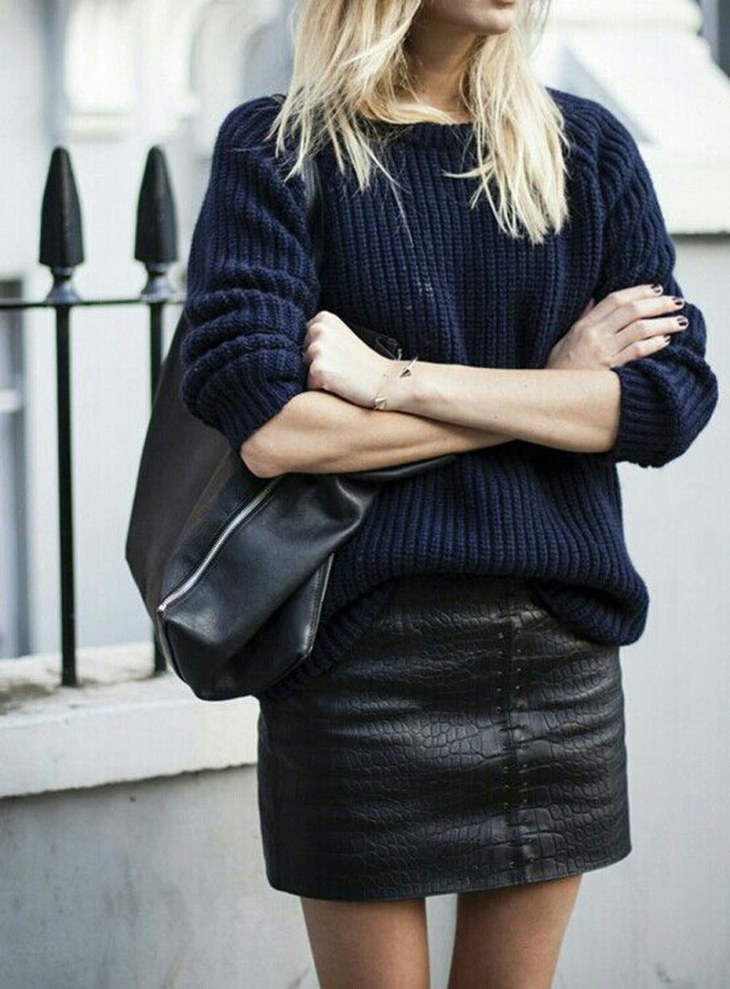 leather sweater texture colours navy black outfit inspiration fall