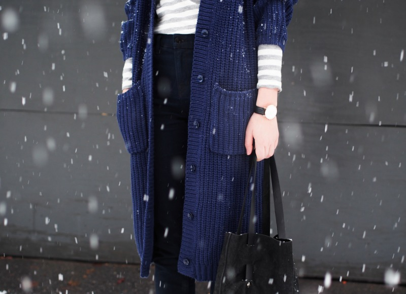 snowy outfit with long cardigan