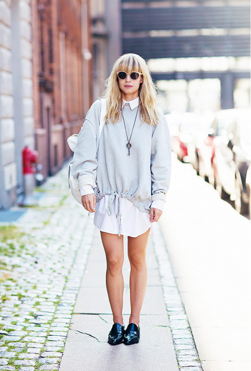 sweater over shirtdress