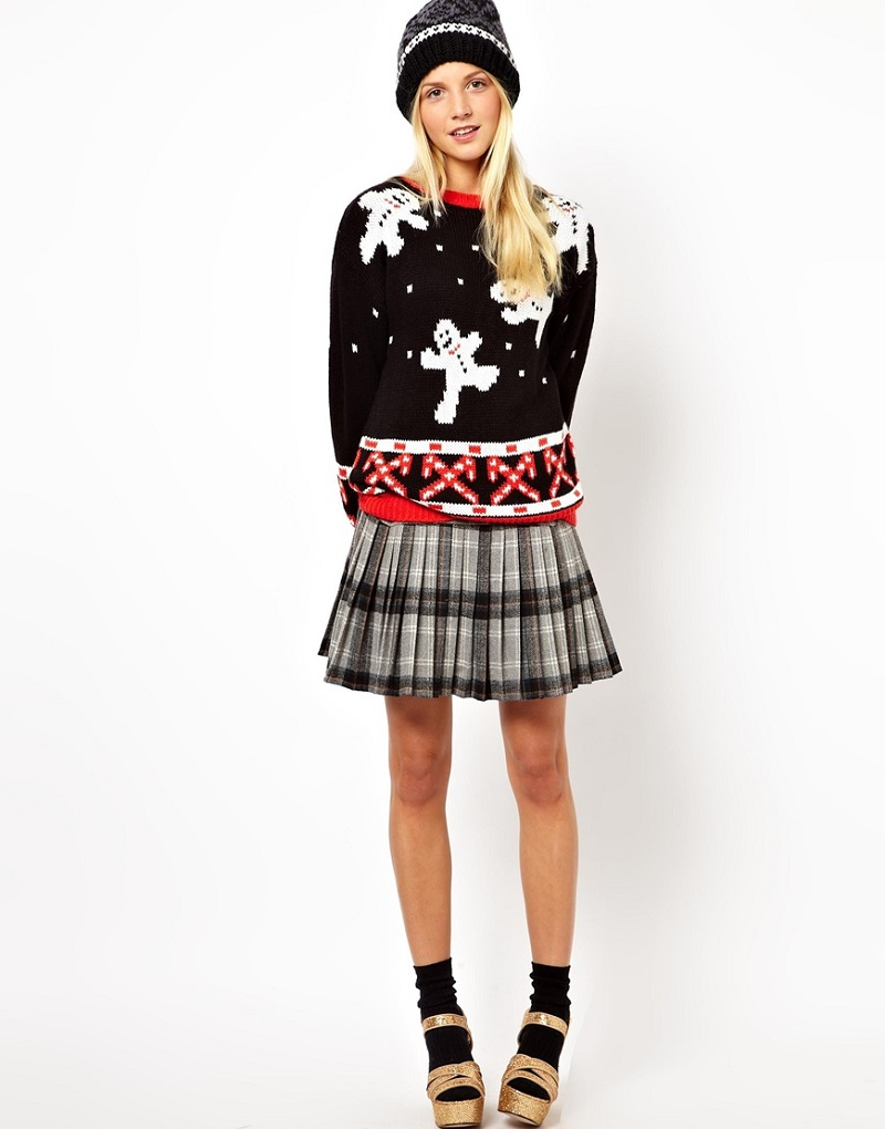 plaid skirt and christmas sweater