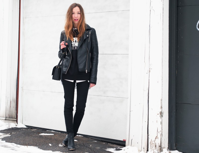Hoodie look with leather jacket and black pants