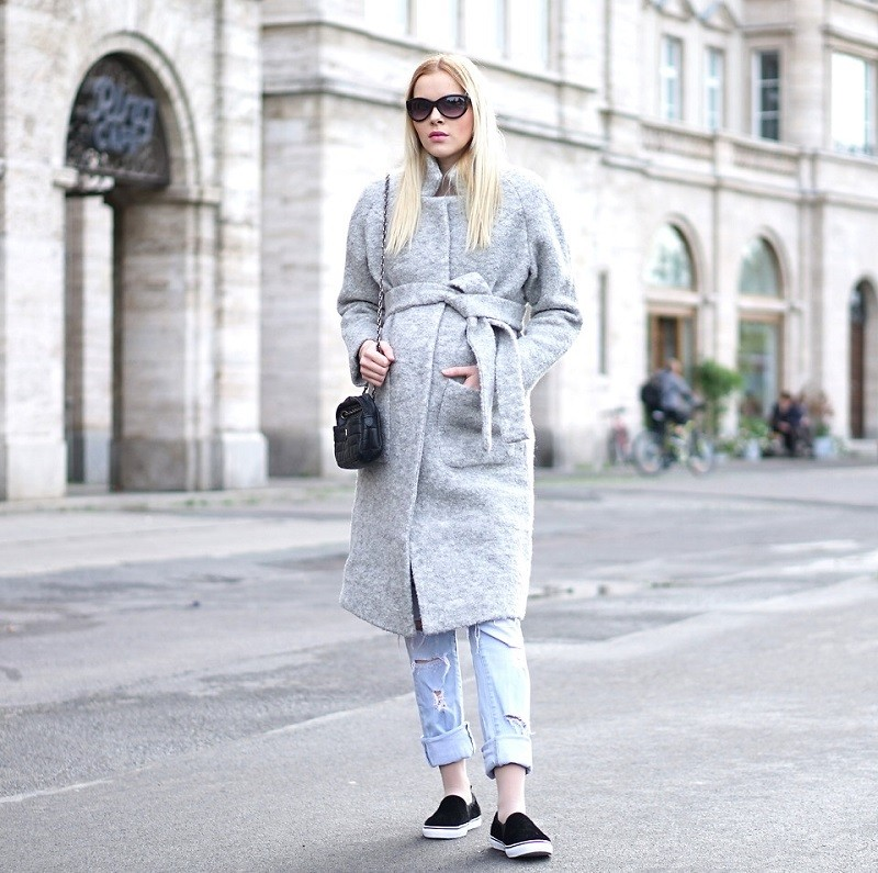 grey coat with jeans