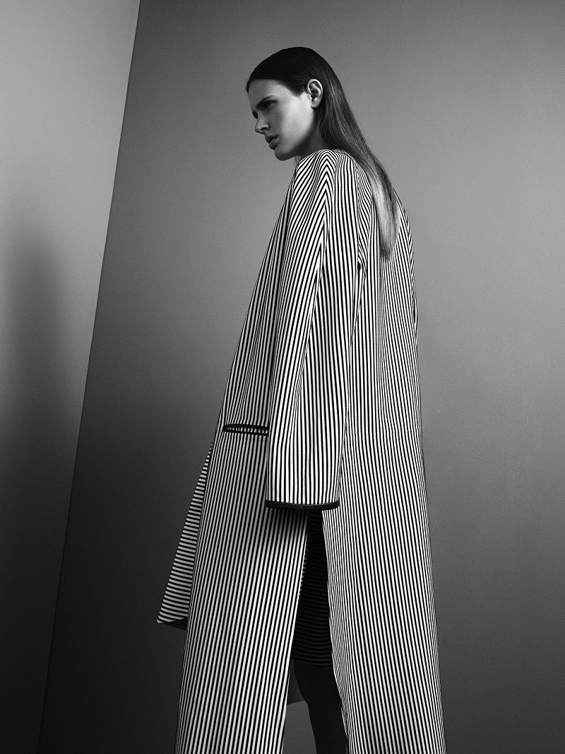 Vertical stripped oversize coat