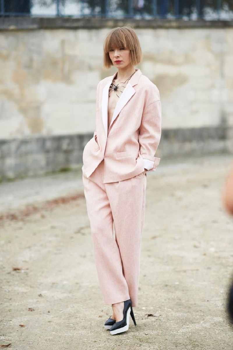 light pink pantsuit