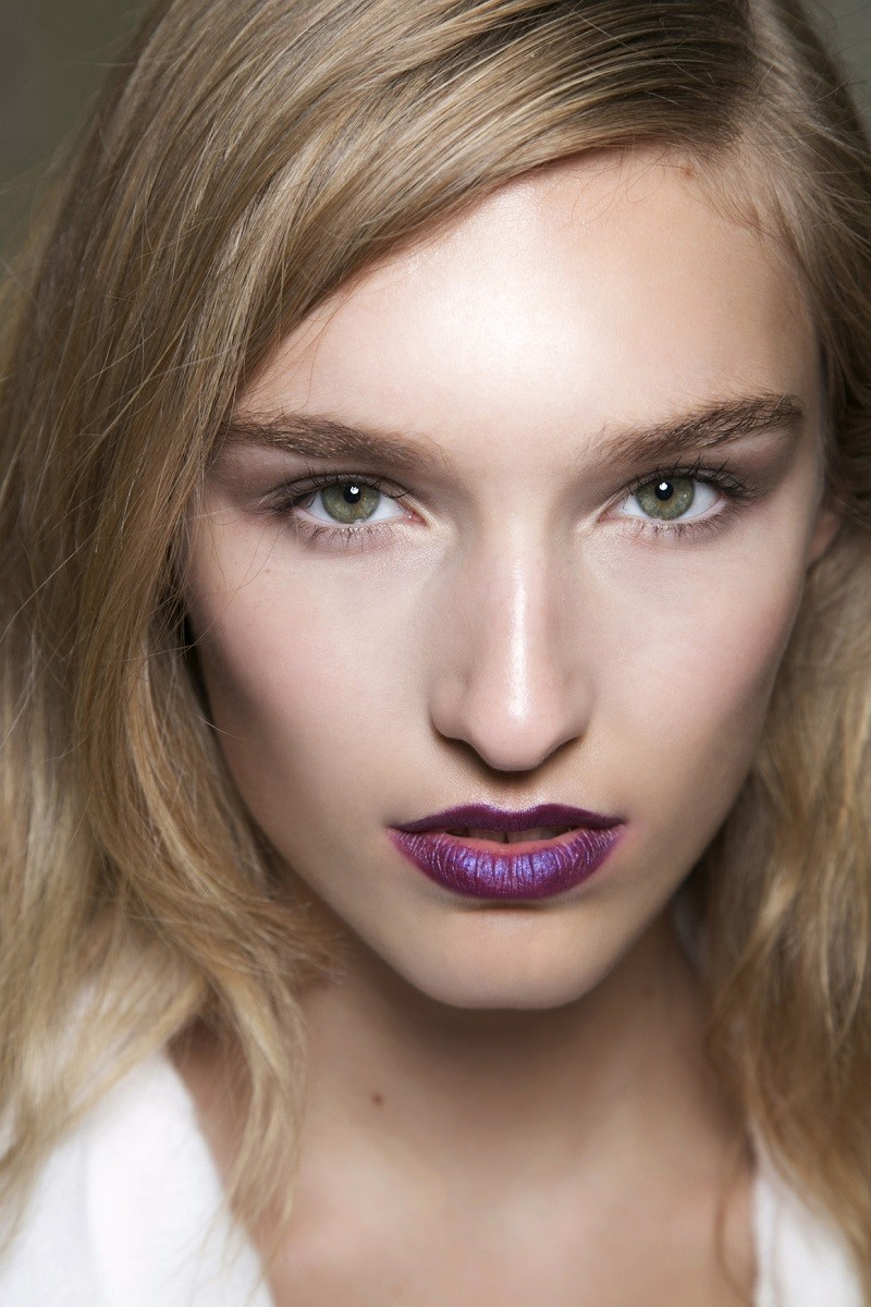 purple lips with minimalist eye makeup