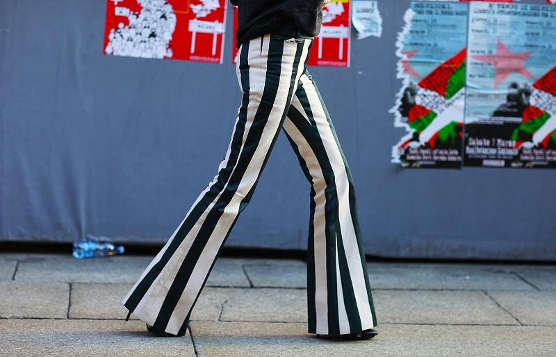 vertical striped trousers
