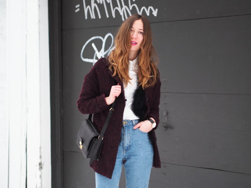 Mom jeans american apparel with coat in winter