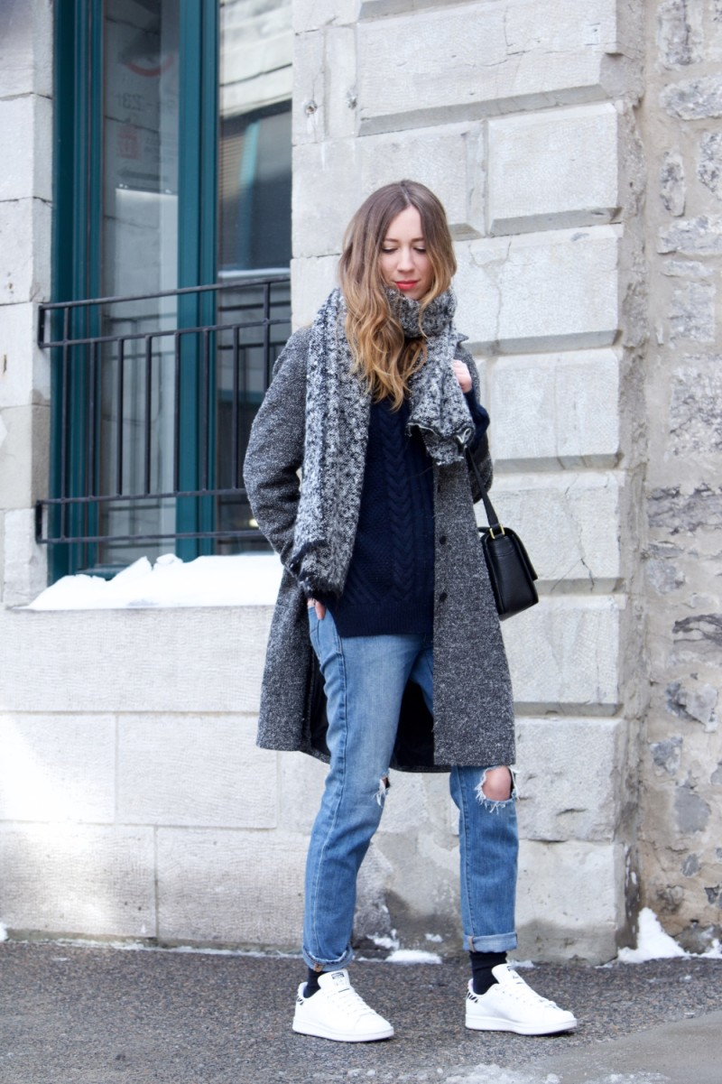 dentellefleurs cozy winter layering knit and gray