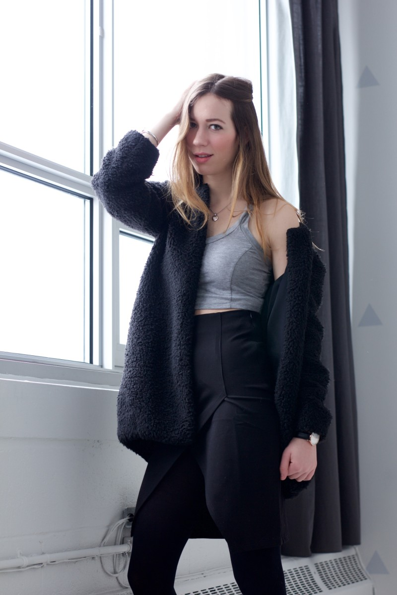 layered crop top for winter