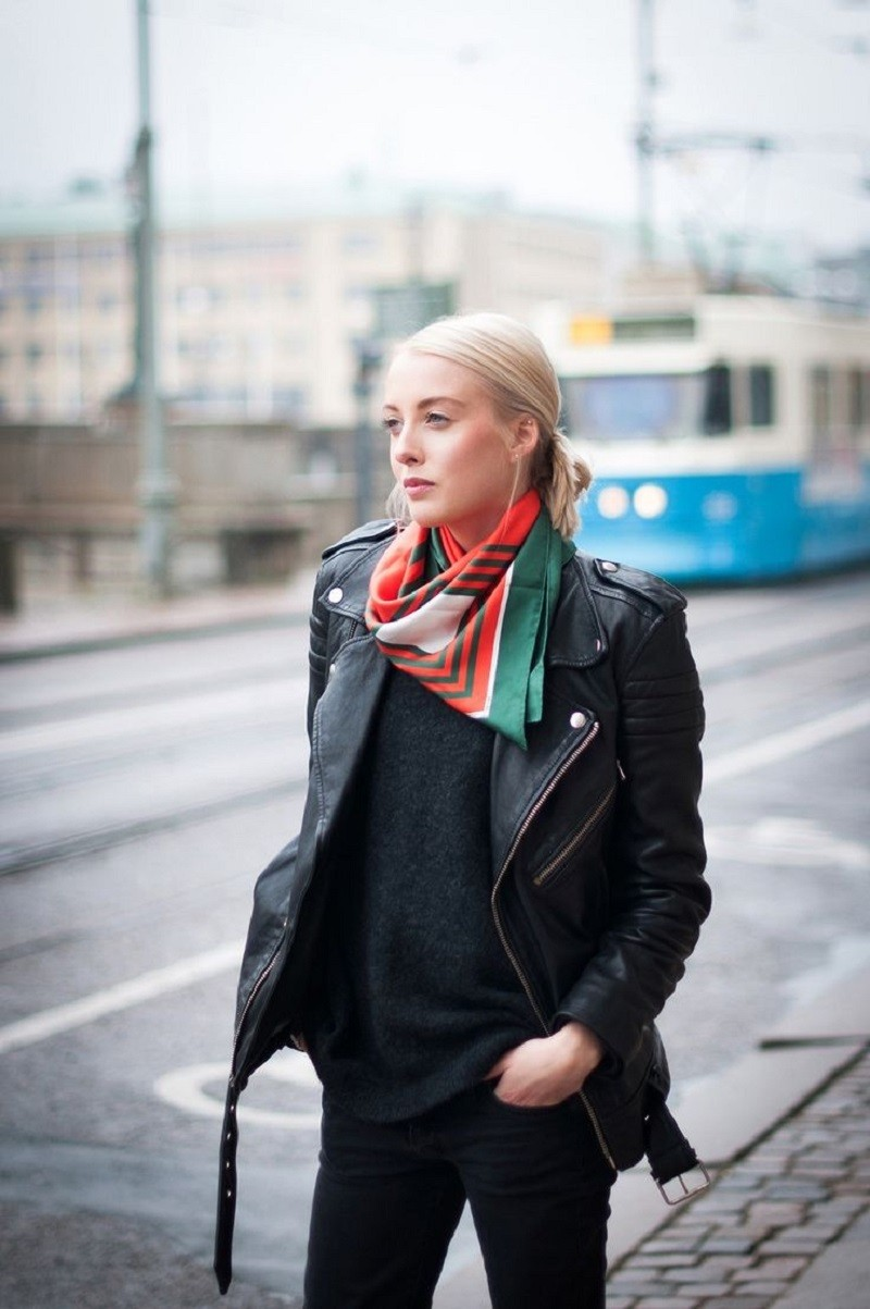neck scarf and leather jacket