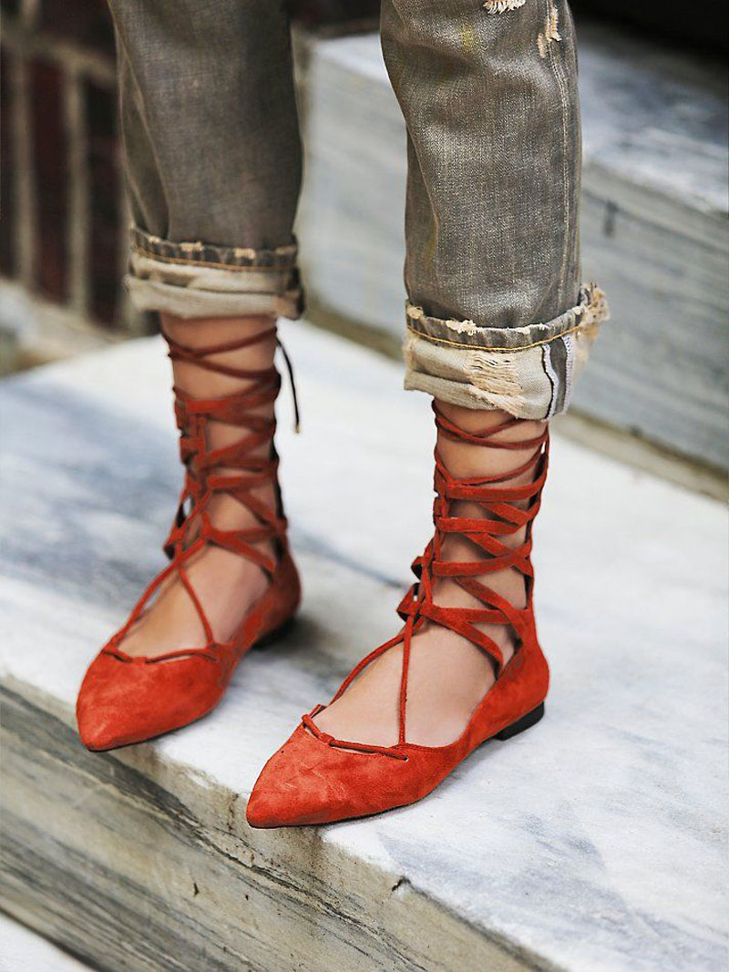 red lace-up ballet flats