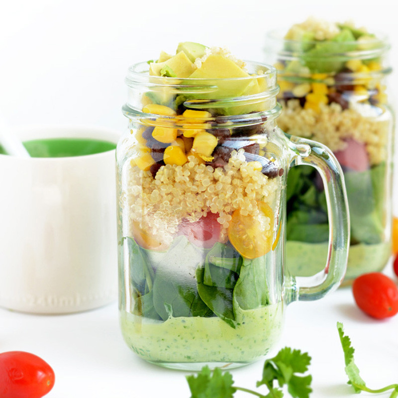 tex-mex salad in a jar