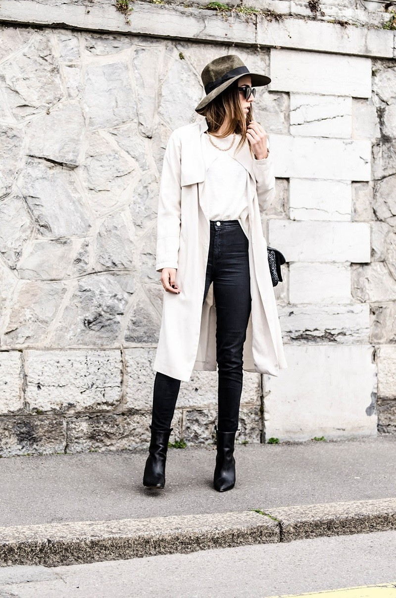 trench coat and hat
