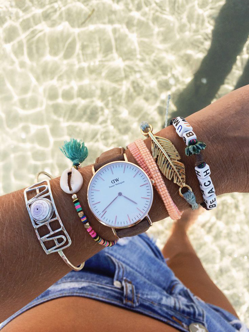 Wearing bracelets and a watch on the same arm