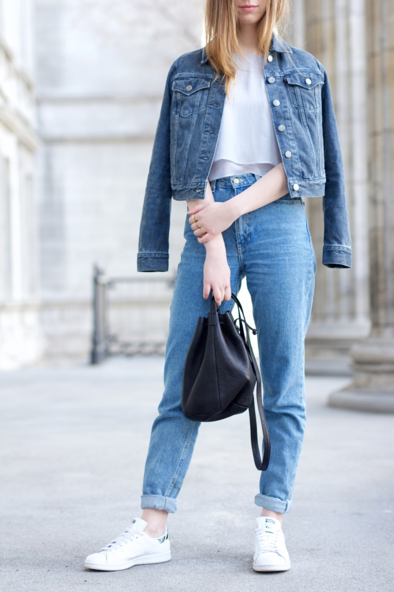 levis jeans jacket with american apparel mom jeans