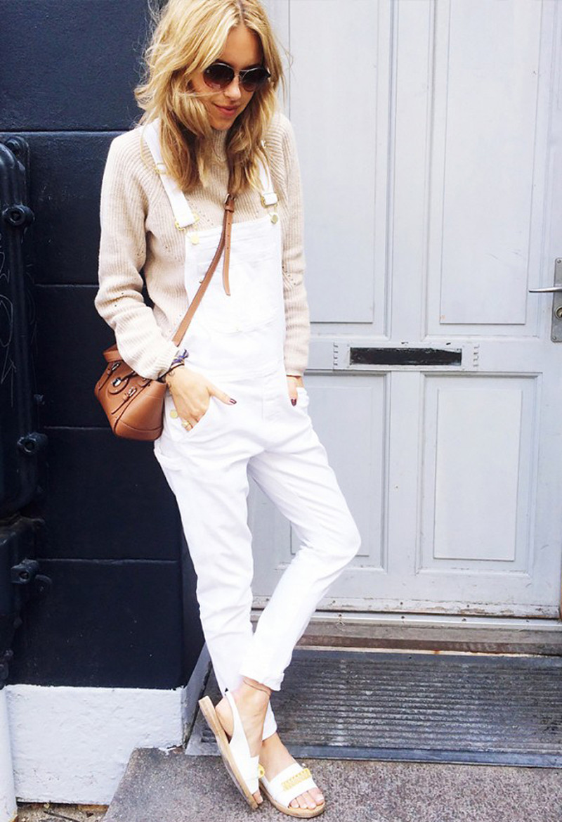 white overalls with sweater