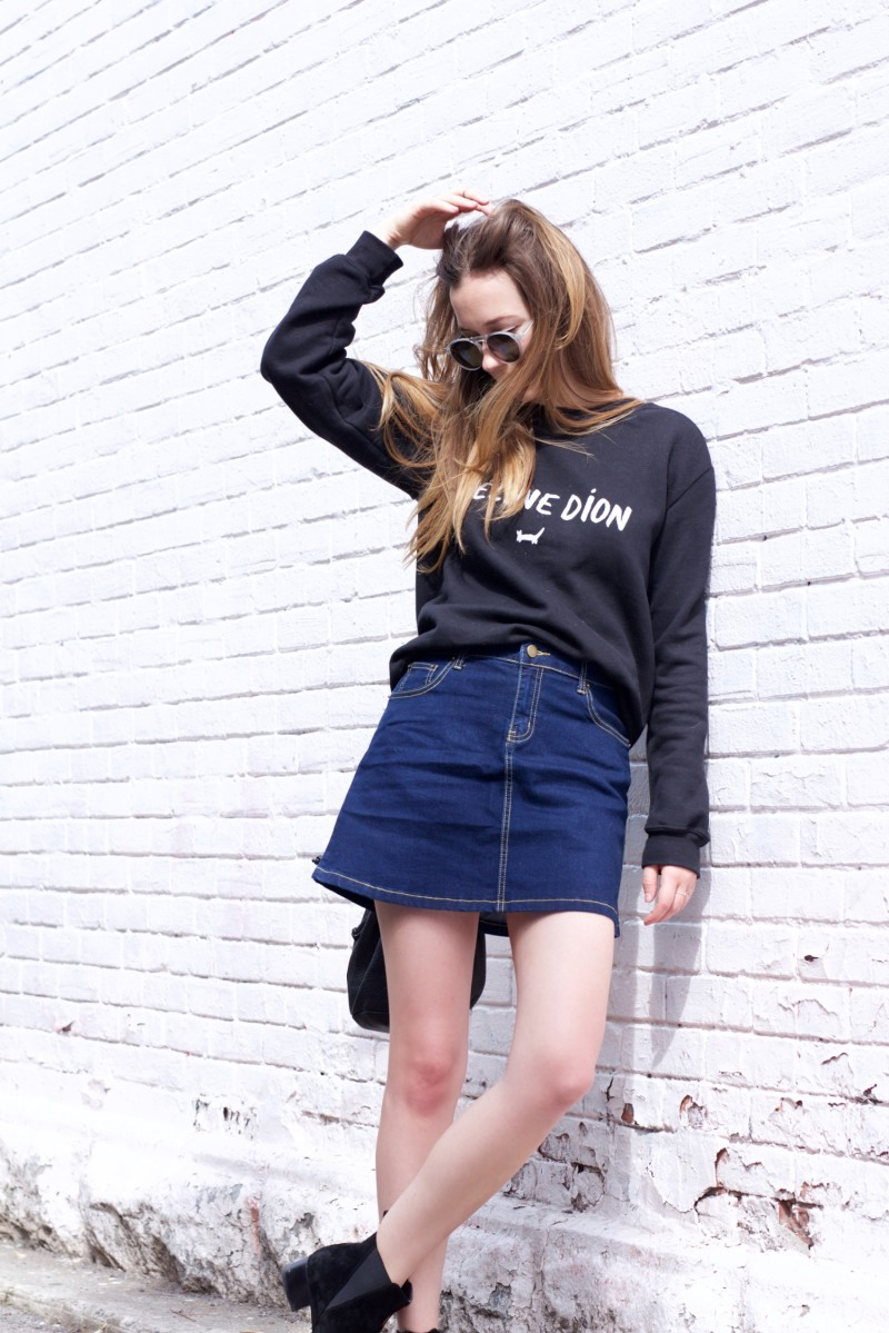 Oasap jean skirt and feline dion shirt