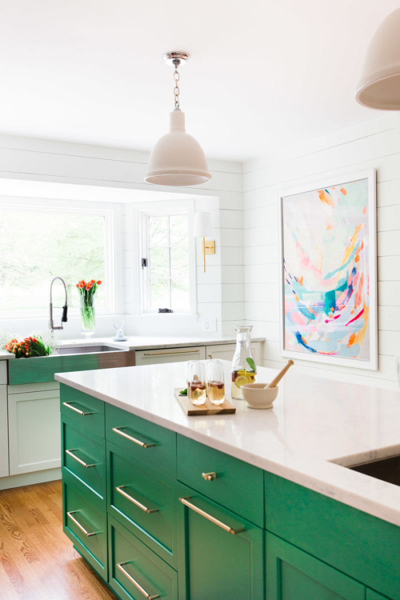 turquoise cabinets