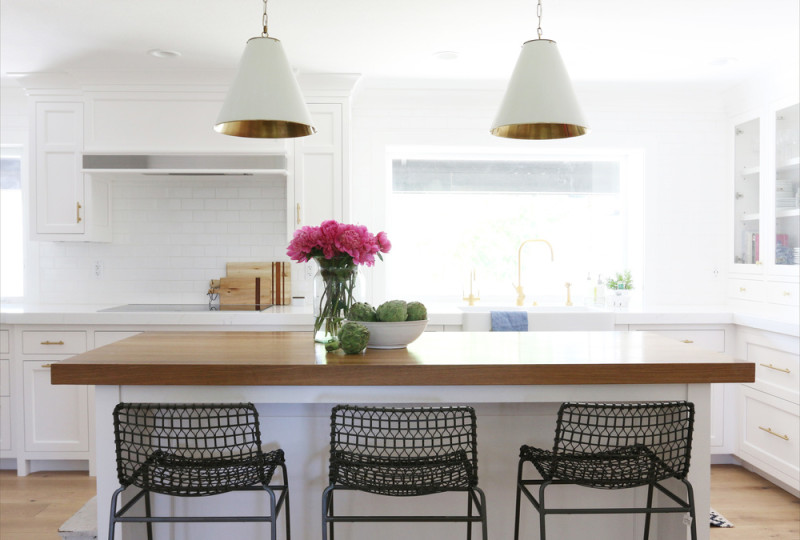 white kitchen lights