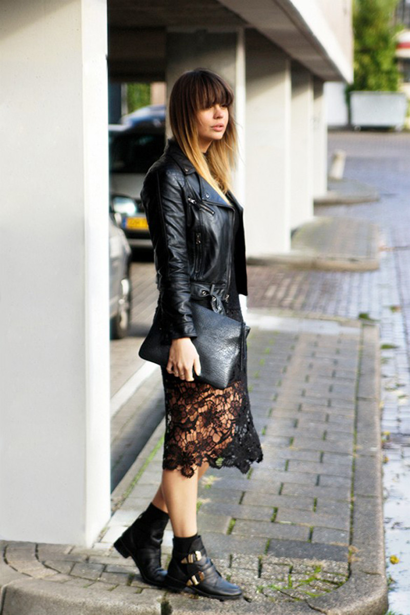 slip dress and leather jacket