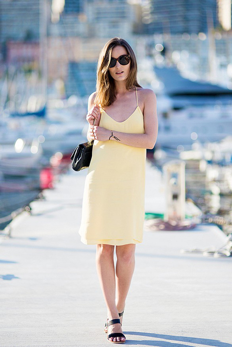 yellow slip dress