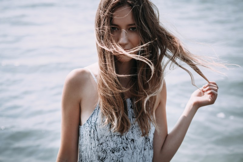 ombre hair in wind
