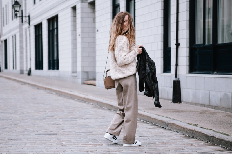 canadian fashion blogger beige pants and knit