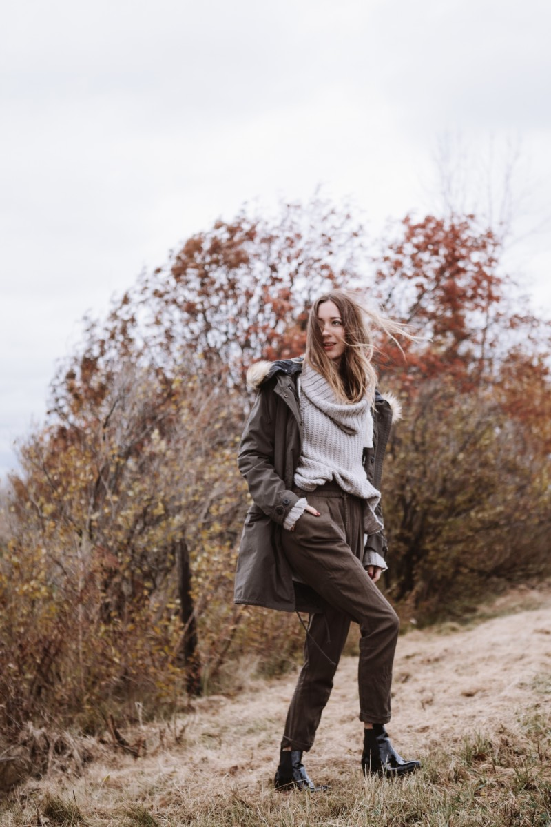parka for Fall neutral colors outfits