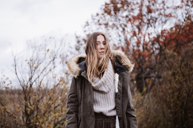parka weather fall with turtleneck neutral