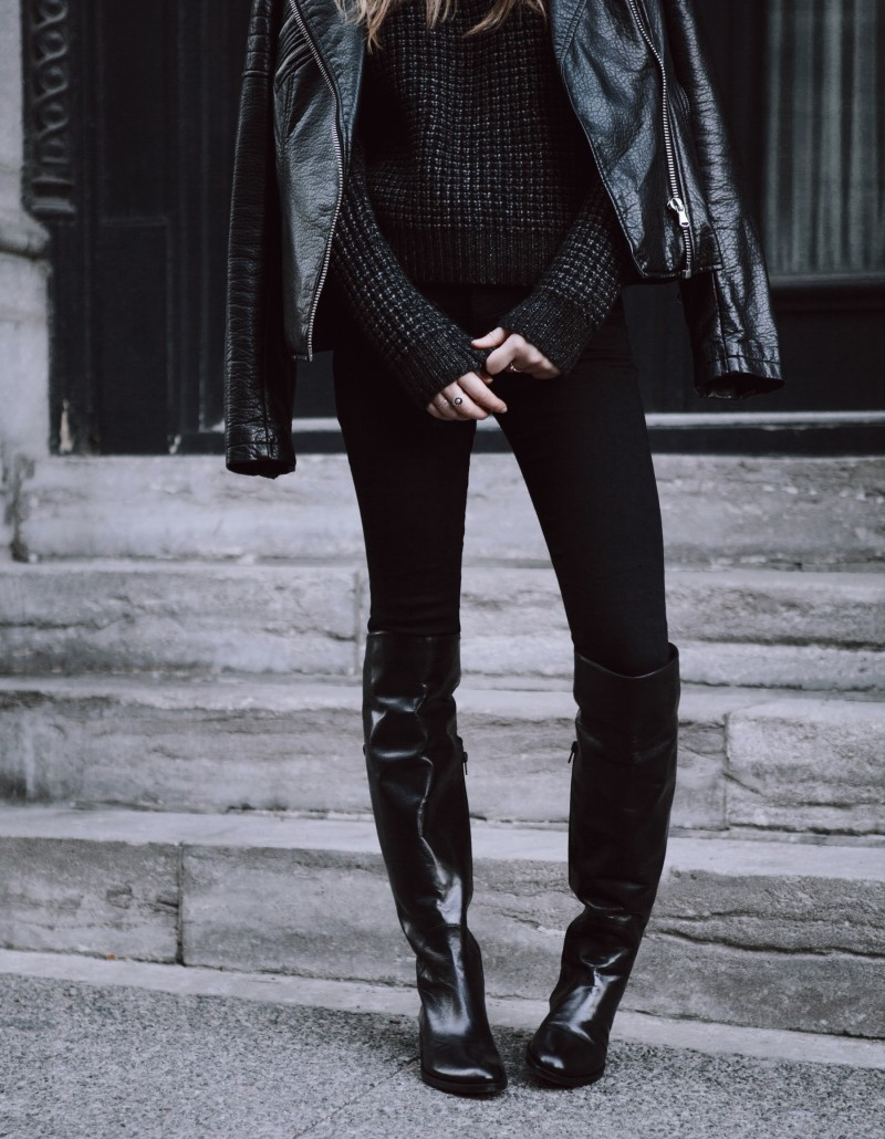 Fall outfit post with high leather boots and leather jacket