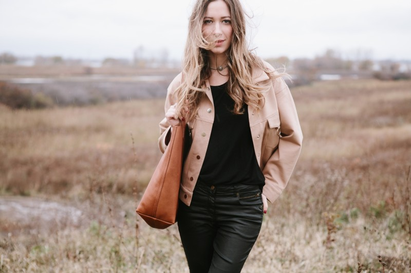 jane&rye necklace. Frontrowshop jackets. Madewell tote.