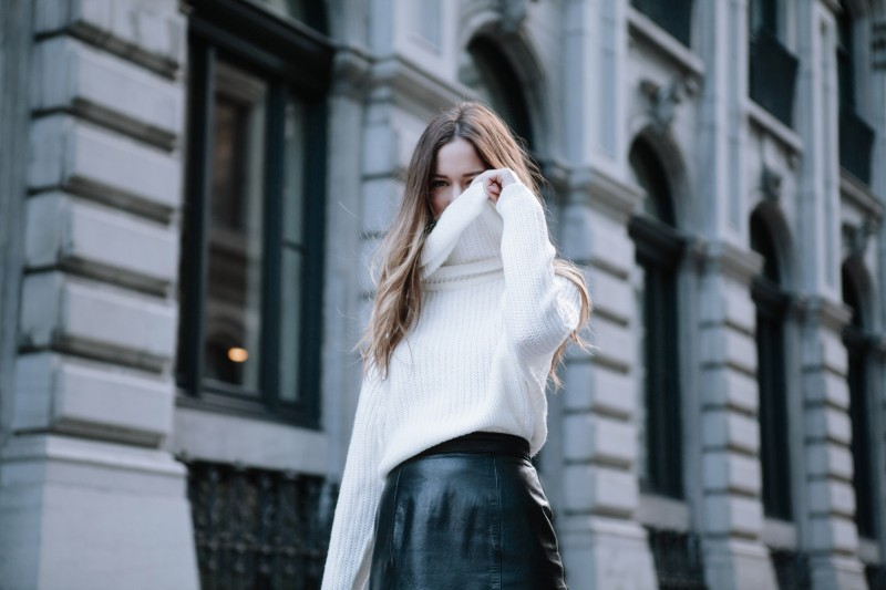 white turtleneck knit