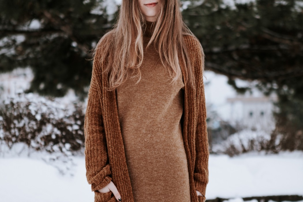 camel on camel during winter (cardigan and forever21 dress)