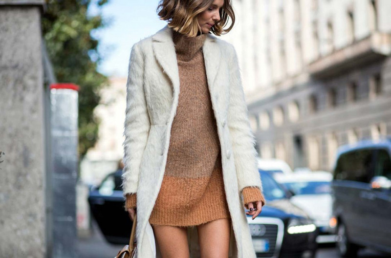 sweater dress and coat