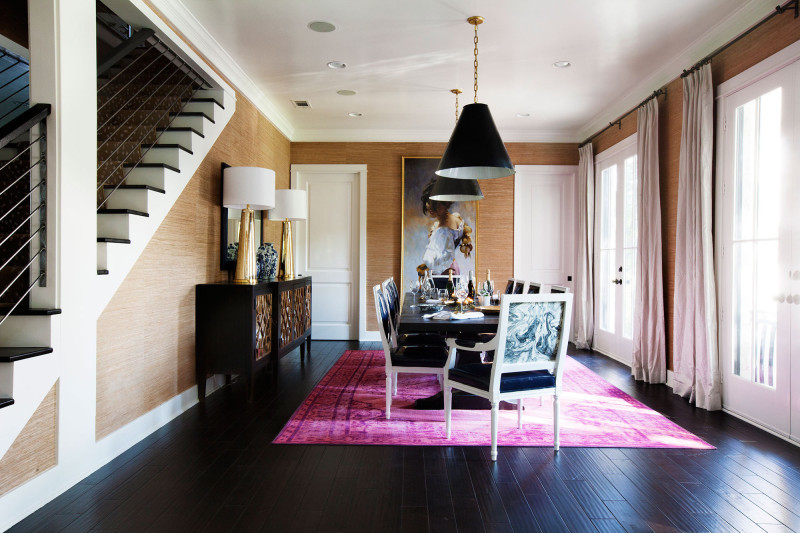 Pink rug dining room