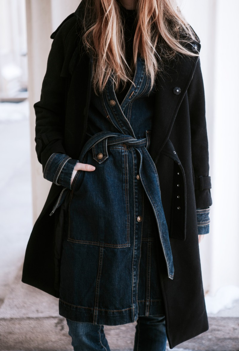 layered denim trench