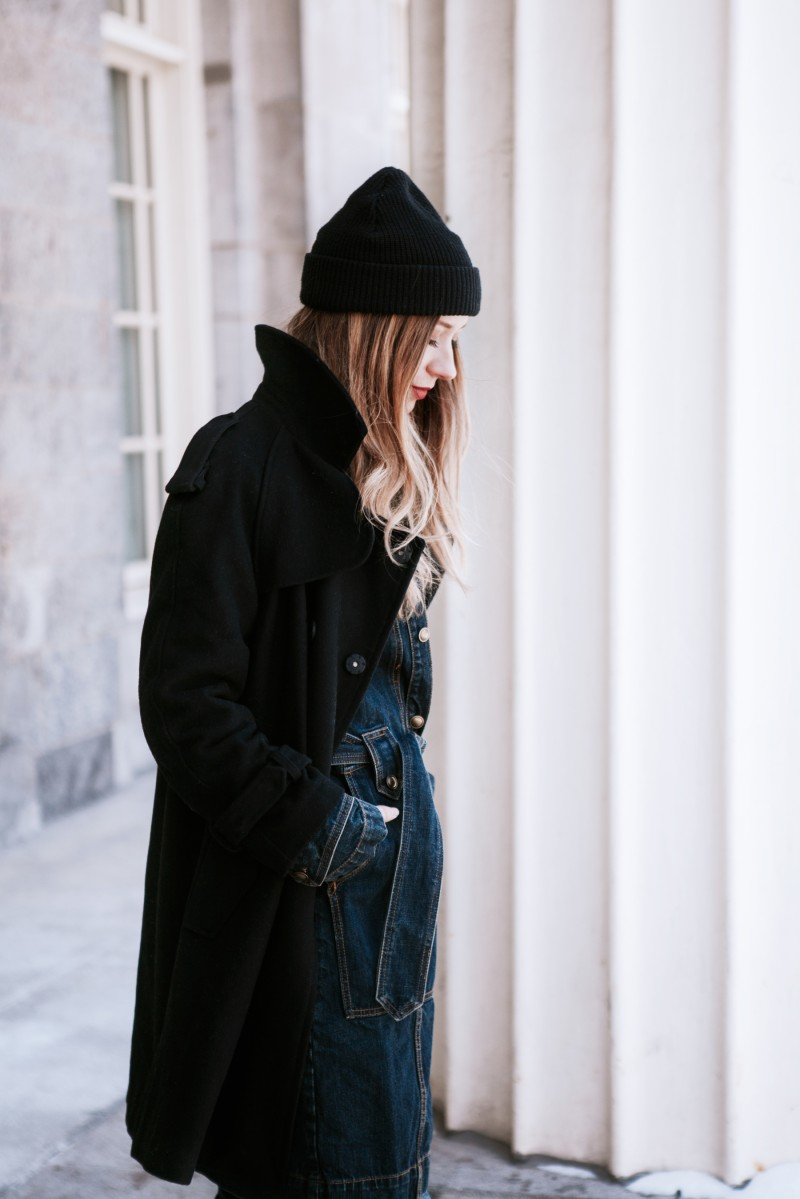 layering denim trench