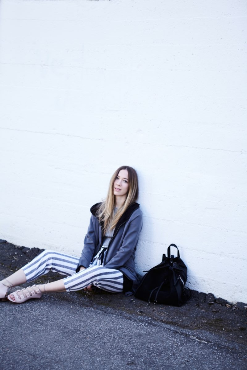 BB Dakota coat, striped pants and gladiator sandals summer outfit