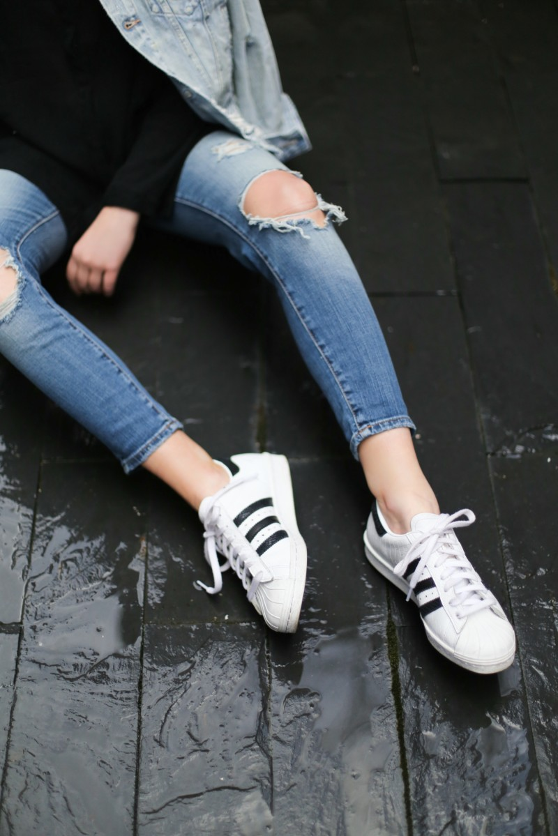 denim and supply outfit with adidas sneakers