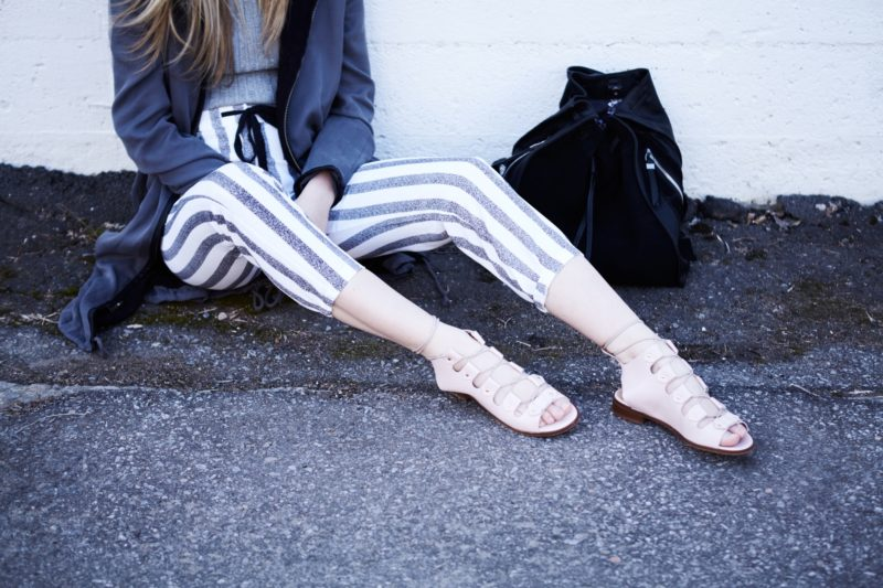 l'intervalle shoes and stripped pants