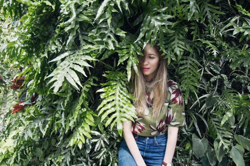 ted baker top in leaves fashion blogger