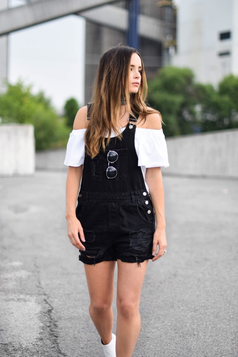 Overall and off the shoulders top