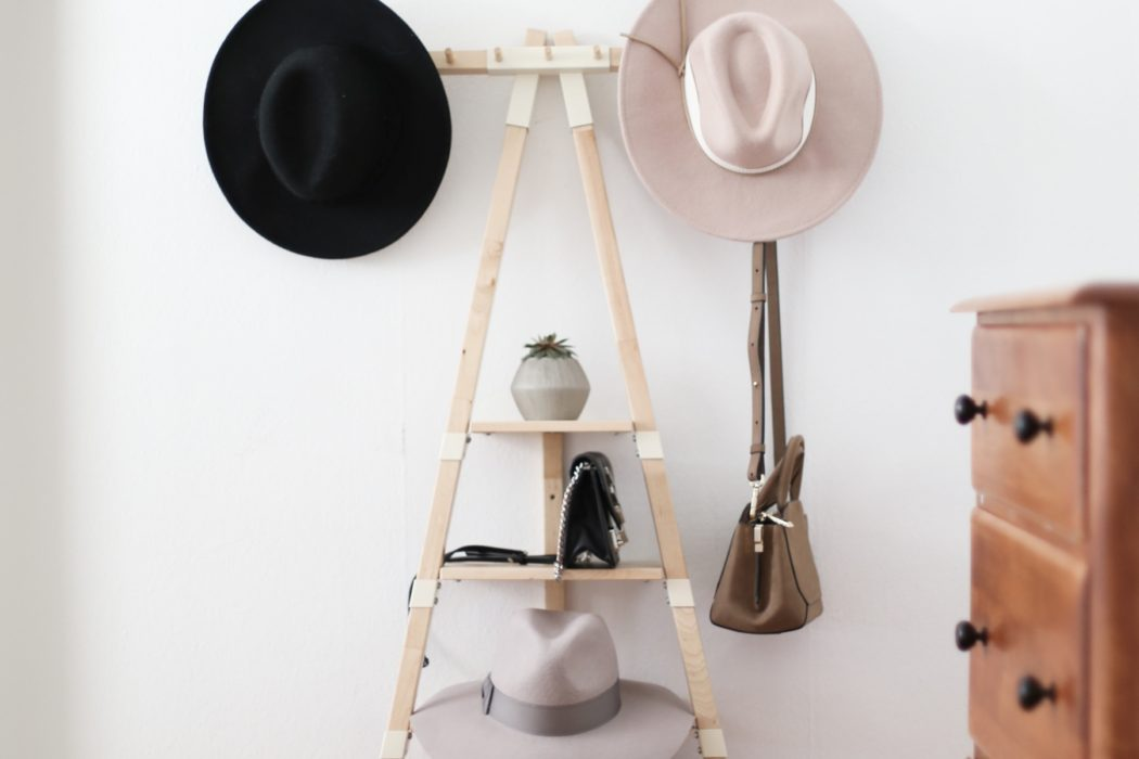 hats and shoes in ladder home decor