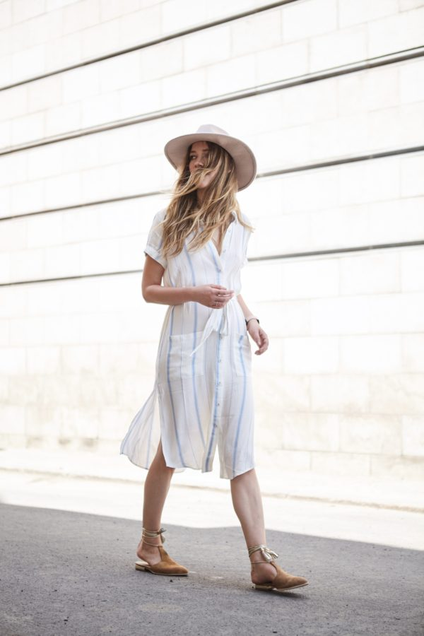 shirt dress from revolve and beige hat