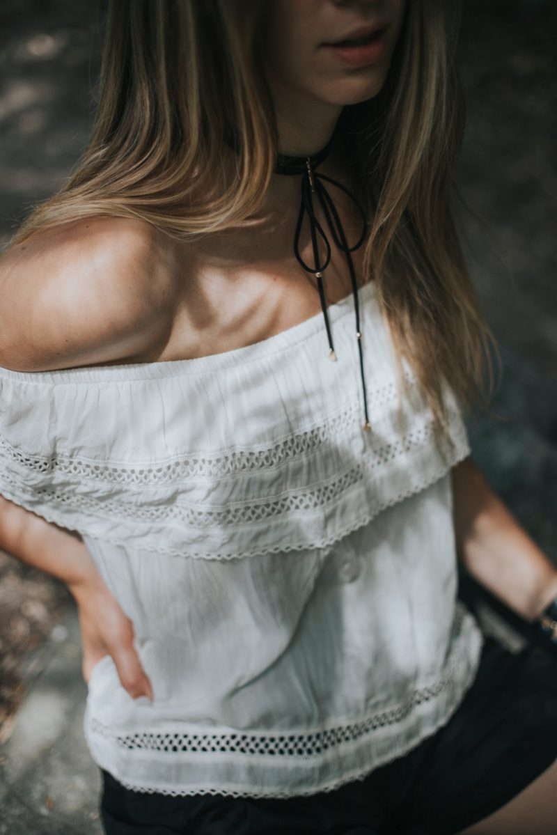 aritzia off the shoulder top white