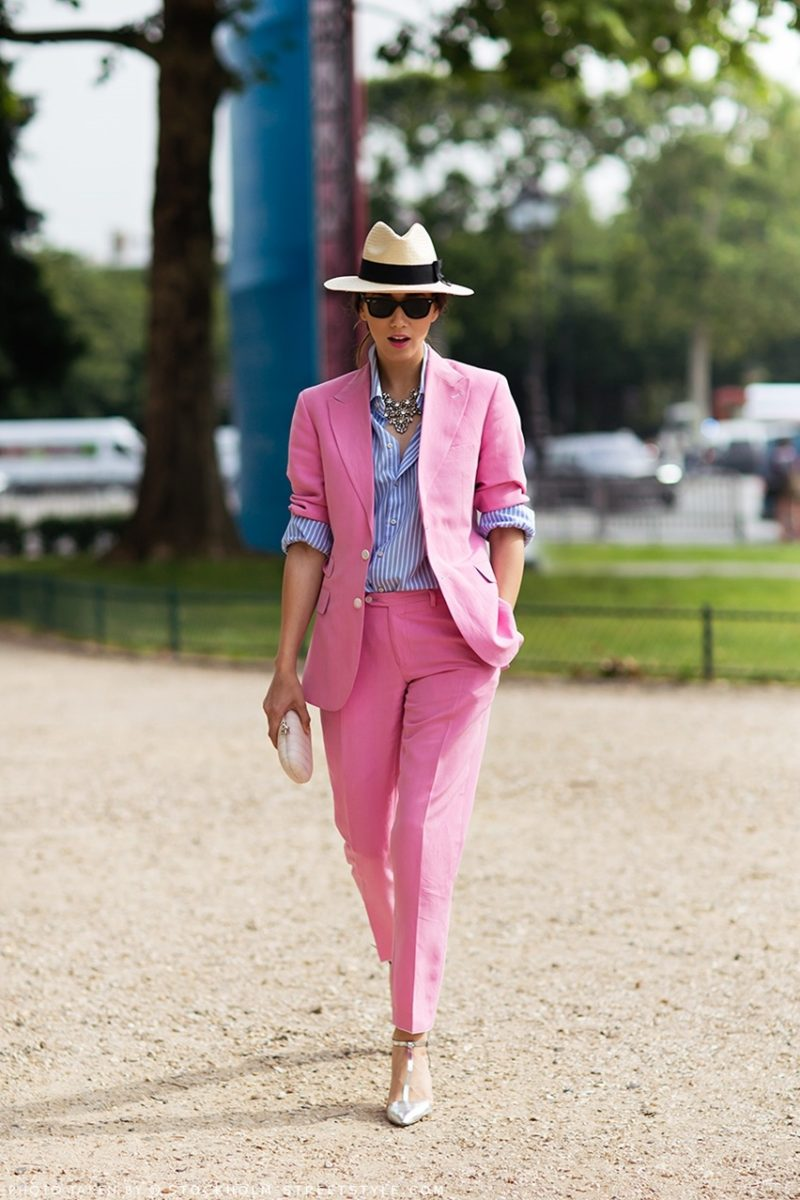 colorful pink suit